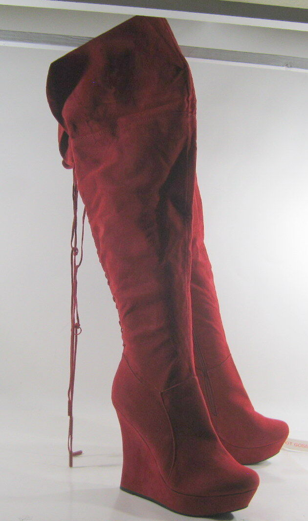 NEW Red 5  Wedge High Heel 1.5  Platform Round Toe Sexy Knee Long Boots Size 6
