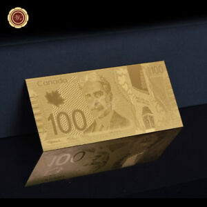 WR-Canada-100-Dollars-Bill-2011-Polymer-Note-24KT-GOLD-Foil-Banknote-Collection