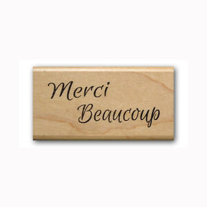 Details about Merci Beaucoup - Mounted rubber stamp French thank you #23
