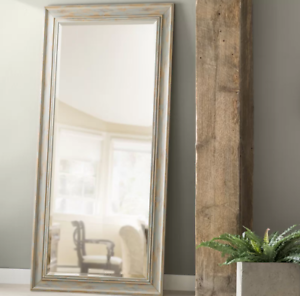 Distressed Rustic Full Length Leaner Mirror Weathered