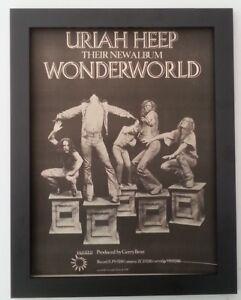 Uriah Heep Wonderworld B W 1974 Original Poster Ad Framed Fast World Ship Ebay
