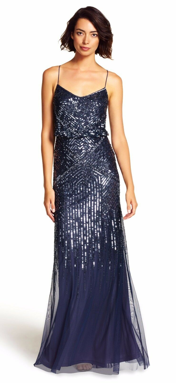 Adrianna Papell Midnight bluee Sequin Embellished Blouson Gown Size 14 NWT  320
