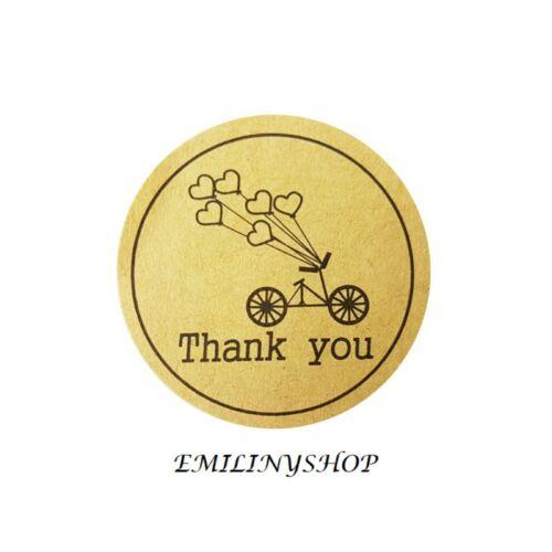 lot 48 etiquettes stickers thank you merci kraft NEUF
