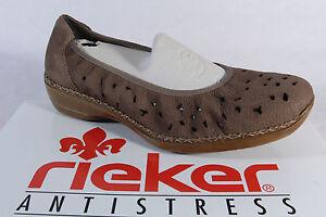 in Rieker morbida nuovo Pantofole pelle marrone sottopiede con wBwtp