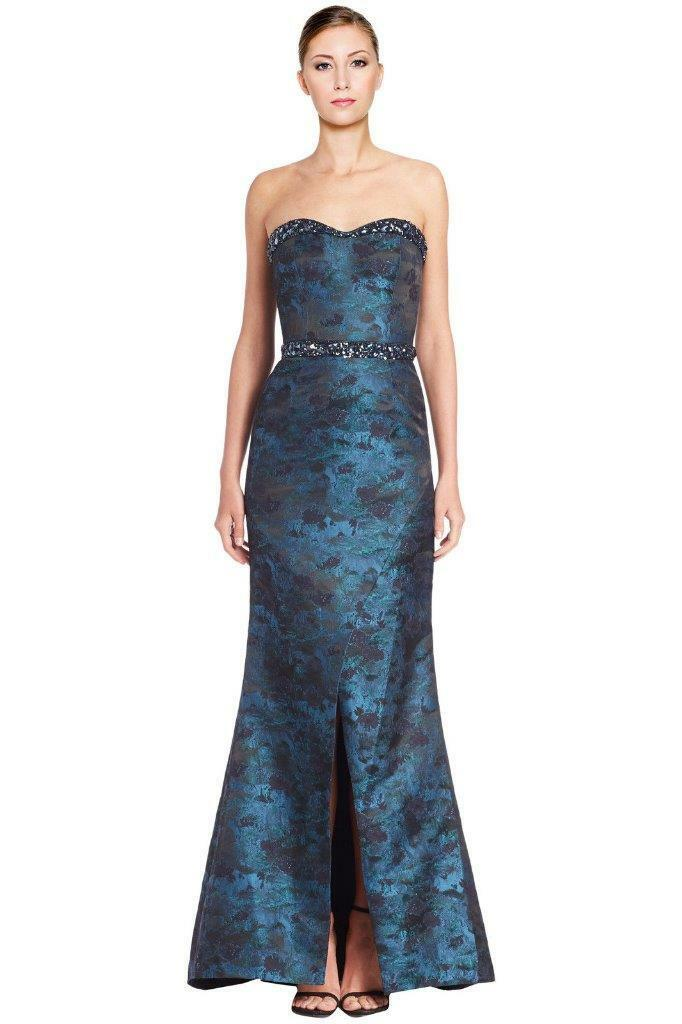 PAMELLA ROLLAND STRAPLESS BEADED-TRIM JACQUARD MERMAID GOWN - SIZE 10