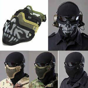 Airsoft-Steel-Mesh-Half-Face-Mask-Tactical-Protect-Strike-War-Game-Halloween