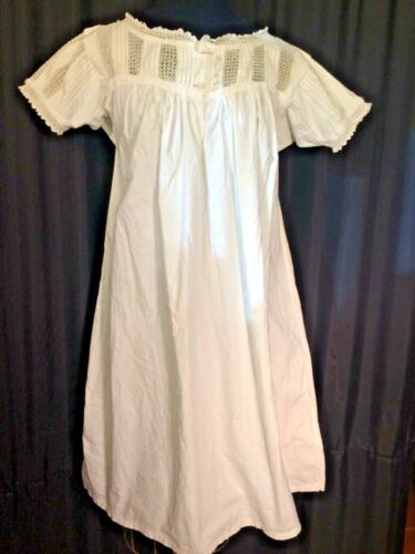 Vintage white 100% cotton SS midi Nightgown chemis