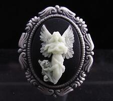 2 IN 1, Set of 2 Glow in Dark Guardian Angel Cameo Brooch Pins / Pendants