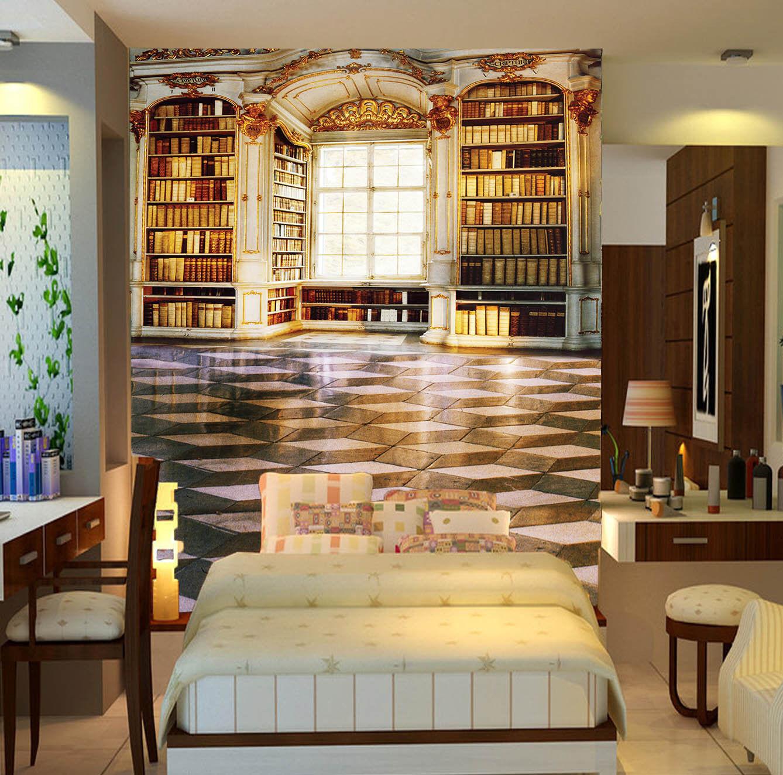 3D Luxury Bookshelf 625 Wall Paper Wall Print Decal Wall Deco Wall Indoor Murals