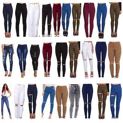 WOMENS HIGH WAISTED RIPPED KNEE SKINNY JEANS LADIES JEGGINGS 6/8/10/12/14/16 UK