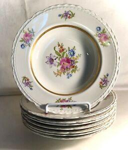 "8 Royal Jackson Scalloped Edge Deanna 8 1/8"" Rimmed Soup Bowls"