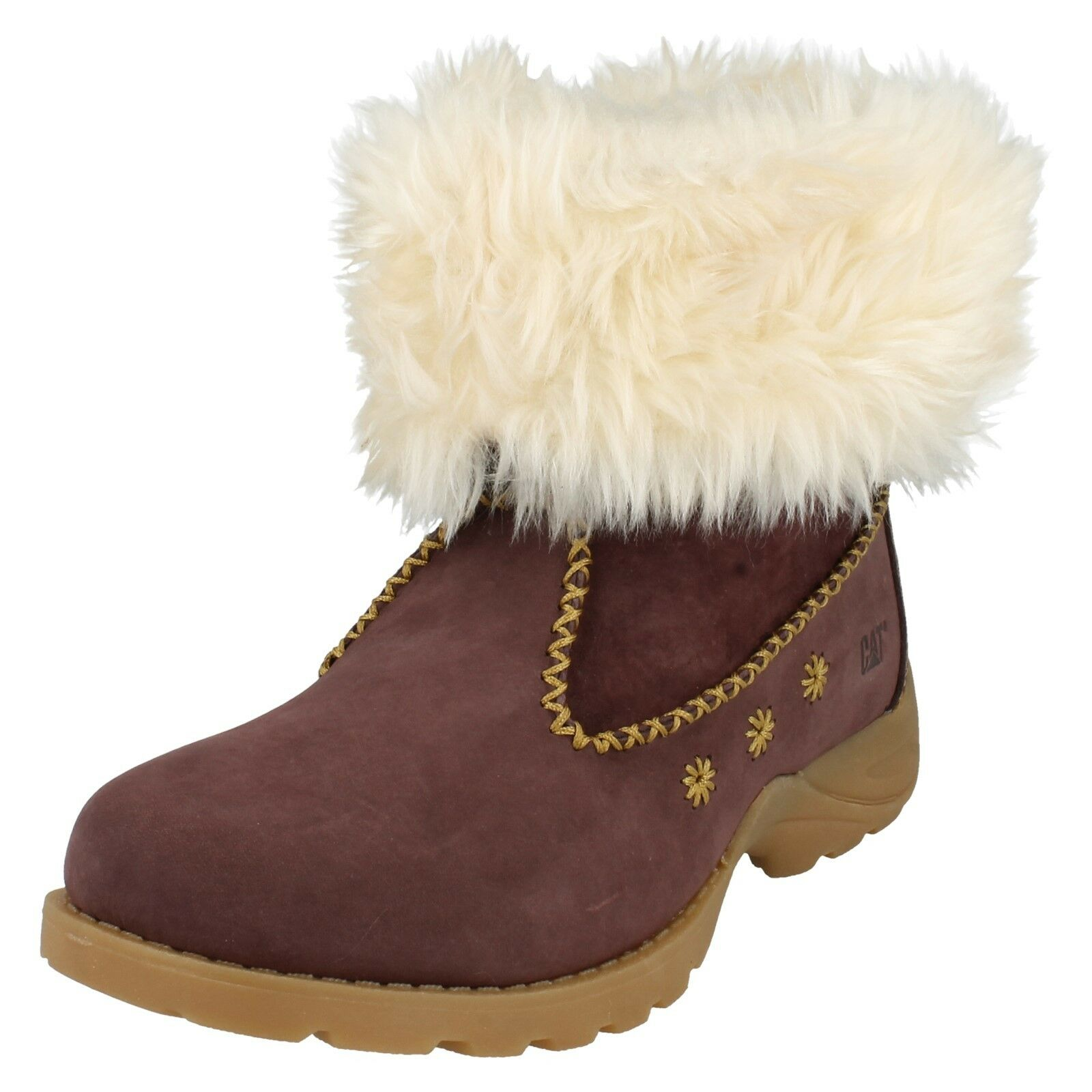 LADIES CATERPILLAR LEATHER FAUX FUR LINED CONKER BURGUNDY BOOTS BRUISER LASSO