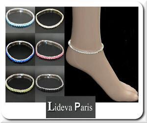 1 Fußkette Fußkettchen Fußschmuck Knöchel Fuß Metall Strass Kristall Paris Feine Verarbeitung
