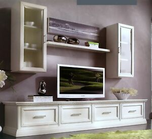 Mobile base porta tv plasma in legno laccato 4 cassettoni for Mobili x salone