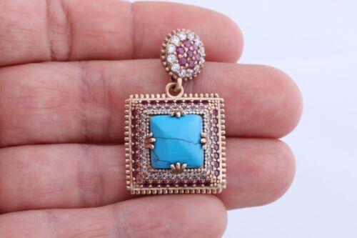 Turc fait main Bijoux Carré Turquoise Ruby Topaz 925 Sterling Argent Pendentif