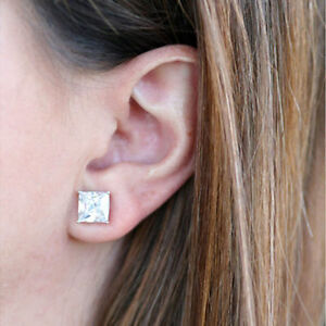 Image Is Loading Princess Cut Solitaire 1 00 Ct Diamond Earrings