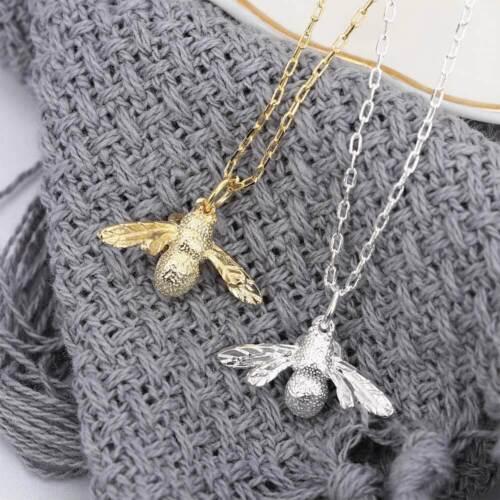 Mignon Bee Forme Collier Femmes Fashion Argent Or Déclaration Collier Pendentif