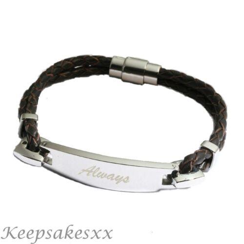 Señoras de la pulsera de cuero y acero inoxidable-Caballeros Con Grabado Personalizado
