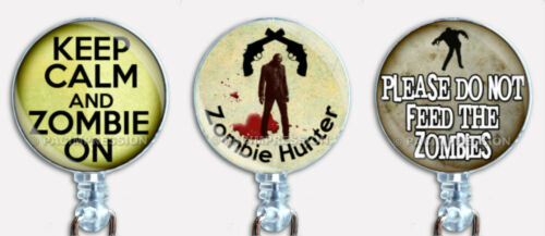 Badge Reel Retractable ID Name Card Holder Dead Evil Walking Zombies Hunter