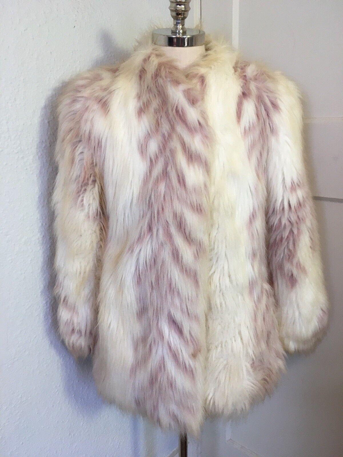 OOAK VTG Faux Fur Yeti Coat White Animal Stripe Print Shaggy womens L mens M