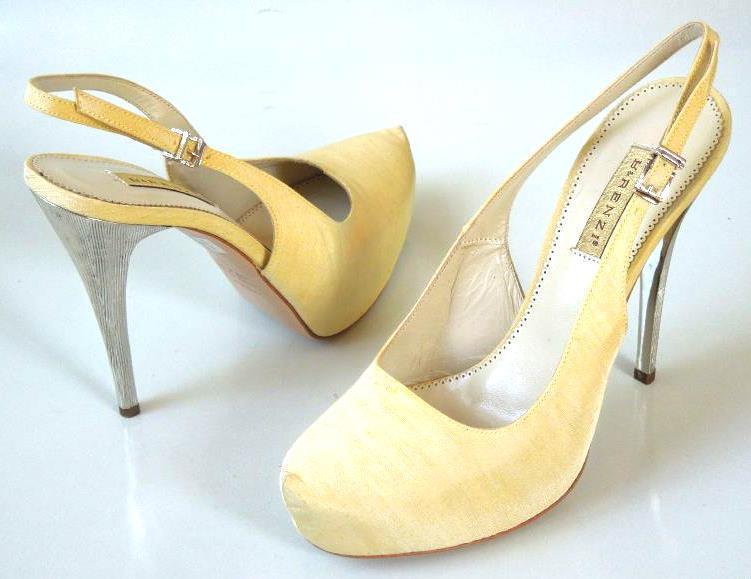 new $595 R & RENZI GIANMARCO LORENZI light sand platforms silver heel shoes HOT