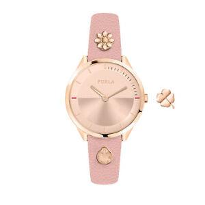 Furla-Women-039-s-R4251112509-Pin-Rose-Gold-IP-Steel-Pink-Leather-Wristwatch