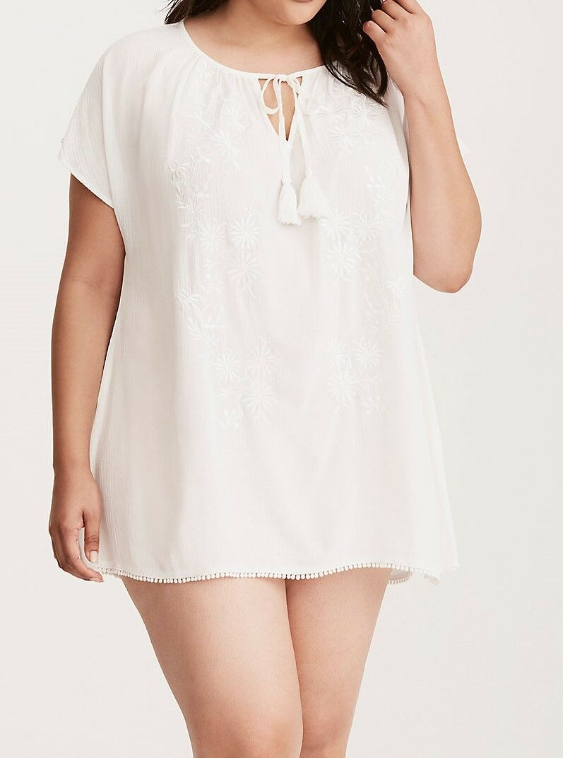 Embroidered Swim Tunic Cover Cover Cover Up Plus Size 5 or 28 NWT 010376