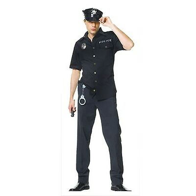 Adult Policeman Costume Police Man Cop Fancy Dress Party