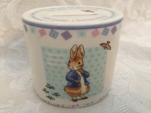 Image is loading Wedgwood-Peter-Rabbit-Christening-Gift-Money-Box-Bank-