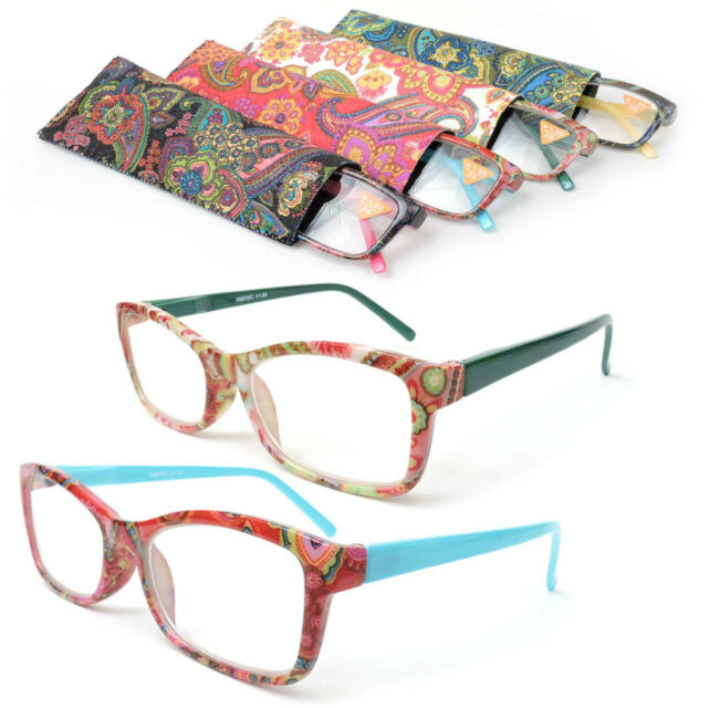Reading Glasses w/ Paisley Pattern Springs Arms Fashion Readers + Matching Case