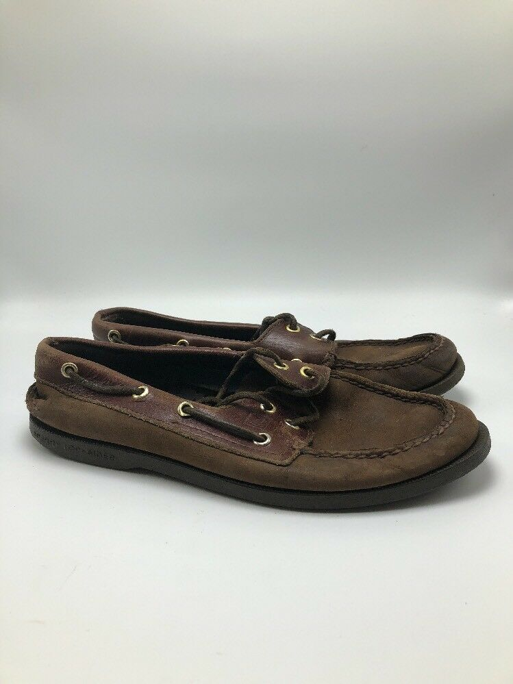 Sperry Top Sider Brown Leather Boat Deck shoes Mens Sz 8 M DISTRESSED