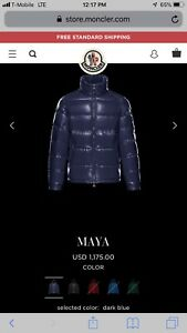New-Moncler-Maya-DARK-BLUE-Quilted-Down-Jacket-Mens-Size-3-Guaranteed-Authent