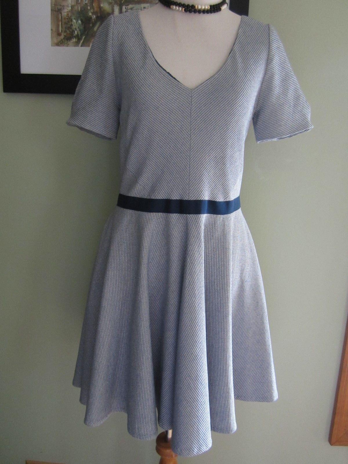 Z Spoke Zac Posen Blau Weiß Striped V Neck Dress Größe 10