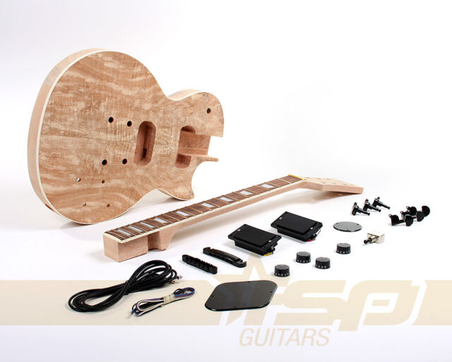 Solid Body DIY Electric Guitar Project Builder Kit Mahogany Spalted Maple Veneer