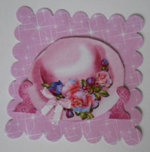 PK 2 PINK HAT ON STAND EMBELLISHMENT TOPPERS FOR CARDS AND CRAFTS