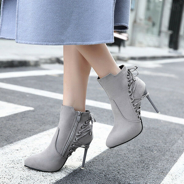 Boots low stiletto 10 cm ankle grey comfortable like leather 9580