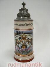 ZUNFTKRUG BIERKRUG BERUF MÜLLER HANDWERK PORZELLAN bemalt LITHOPHANIE um 1900