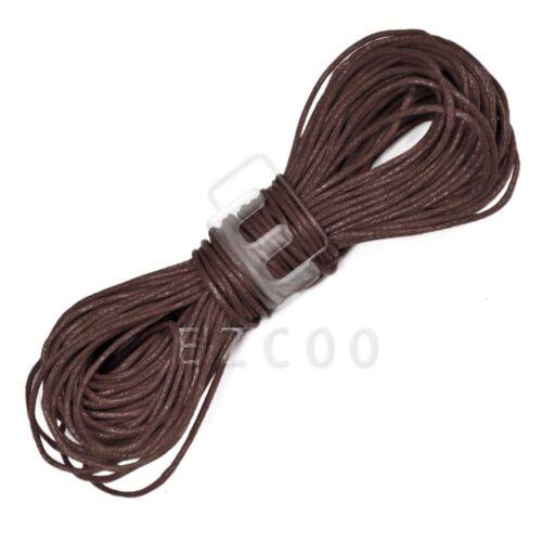 20M 1mm Hilo Encerado Algodón cordón cadena abalorios bisutería Leathercraft Café
