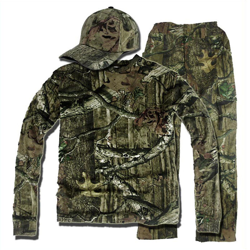 Bionic Hunting Clothes Camouflage Ghillie Suit Leaf Breathable Shirt Pants Hat
