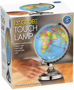 Details about Illuminated World Globe 4 Way Touch Control Light Up Table Lamp Chrome Xmas