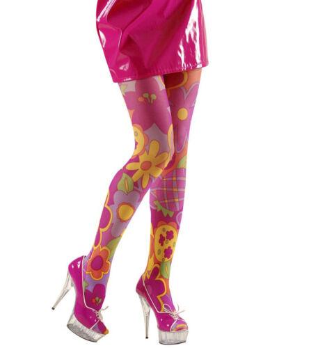 HIPPIE DAMEN BLUMEN STRUMPFHOSE # Flower Power 60er 70er Jahre Kostüm Party 4708