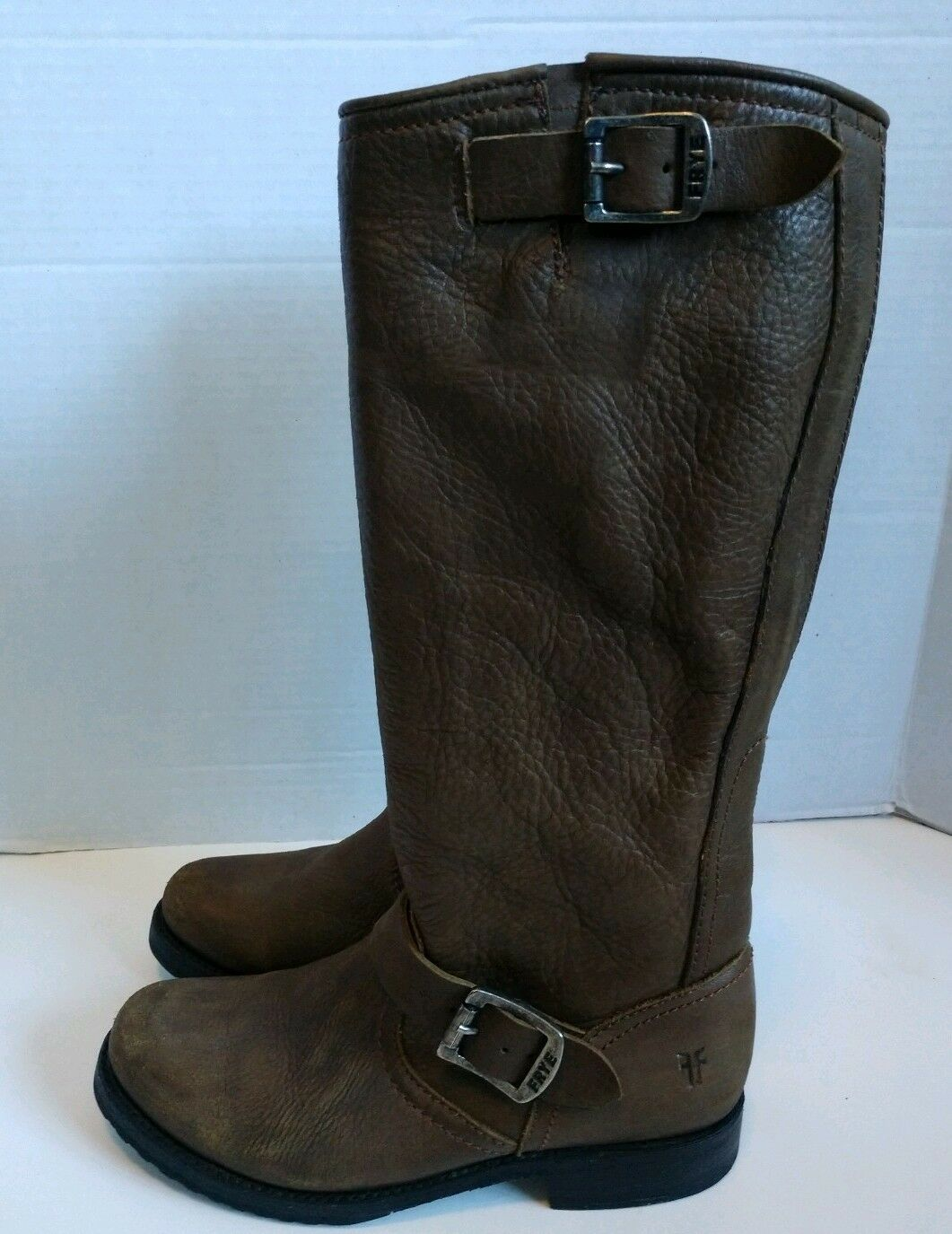 FRYE Veronica Slouch Brown Leather Knee High Riding Boots Women's Size 6 B