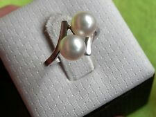 Mikimoto Sterling Silver 2-Pearl Ring Size 5.5