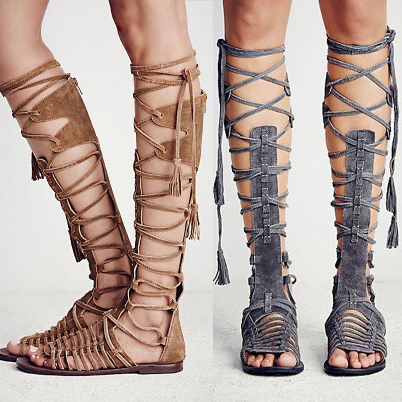 Retro donna Knee High Sandals Flats Lace Up Strappy Gladiators Roman scarpe A148
