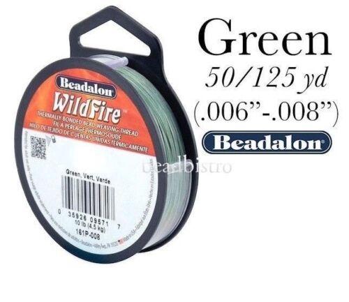 "50 /& 125 Yard Spools .006/""//.008/"" Beadalon Wildfire GREEN Beading Thread"