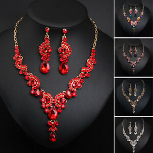 Fashion-Gift-Bridal-Jewelry-Women-Crystal-Necklace-Earring-Sets-Party-Jewellery