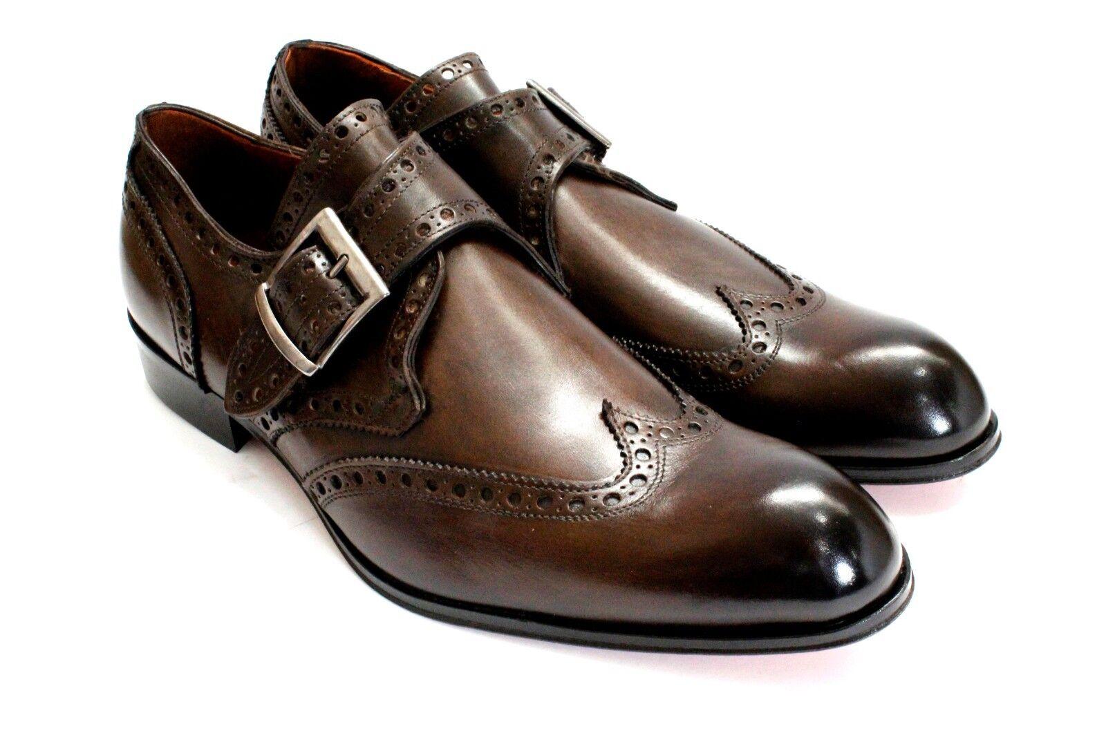 Ivan Troy Café Hecho a Mano Monje Tira Cuero Italiano Zapatos Vestido Zapatos