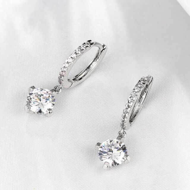 Round 6mm Cz Leverback Earrings