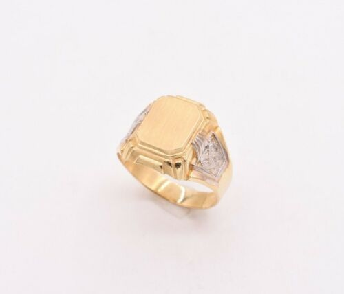 Mens Engravable Square Signet Ring Real Solid 14K Yellow White Gold ALL SIZES