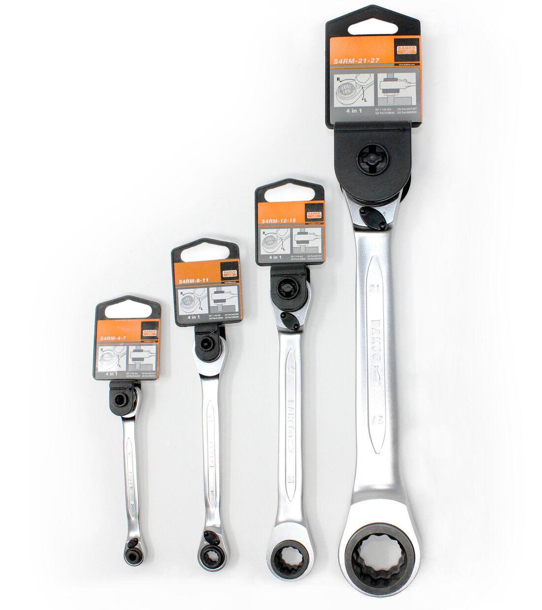 BAHCO Vierfach-Knarren-Ringschlüssel ++ AUSWAHL++ Ratschenschlüssel S4RM